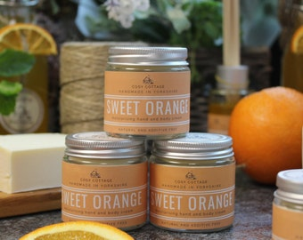 Energising sweet-orange, coconut oil Hand and Body Cream - Palm oil free, Intense, natural, soothing, vegan