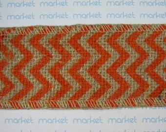 Decorative Ribbon Printed Fabric orange ZIGZAG ref. 210114-26