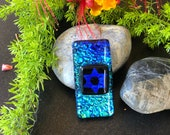 Unique, Abstract Dichroic Glass Star of David Pendant, One of a kind
