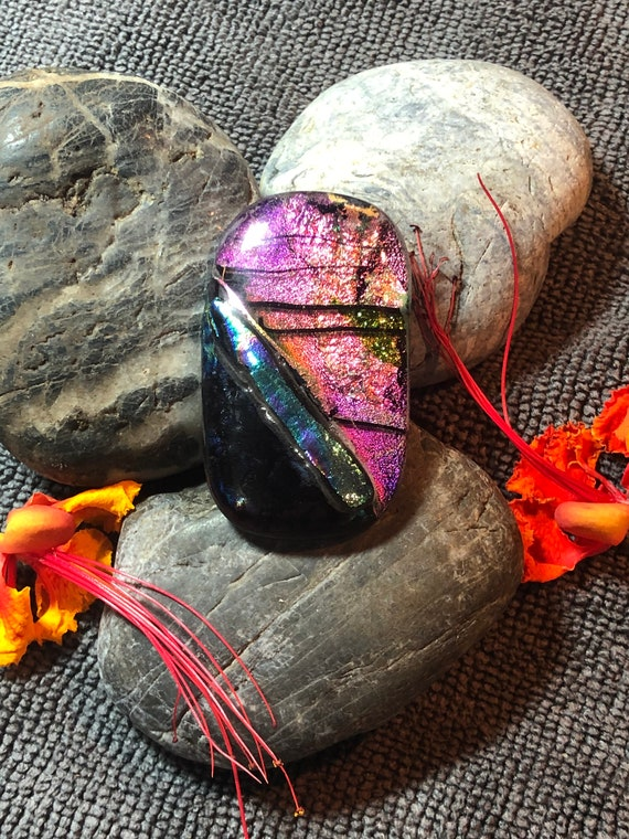 Abstract Metallic Holographic Dichroic Pendant One of a kind