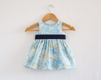 Baby Butterfly Dress in Blue and Gold