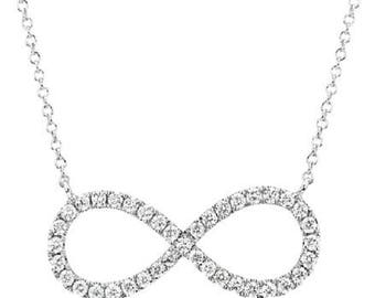 14 K White Gold Chain with Diamond Infinity Pendant Necklace