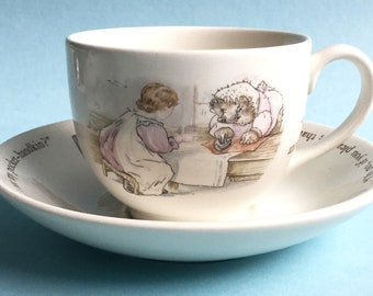 Wedgwood Beatrix Potter Mrs Tiggy-Winkle full size tea cup and saucer set