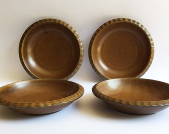 4 x Gerzit W. Germany mid-century modern Staffel stoneware soup /dessert / cereal bowls, Taverne range, lovely coppery brown colour 1970s
