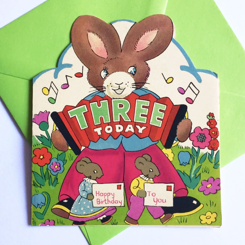 Unused Vintage Three Year Old Childs Birthday Card With