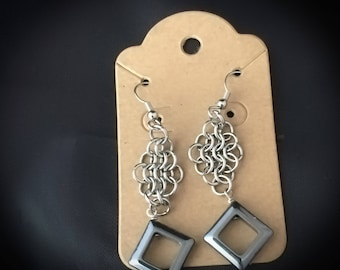 Chain Maille, Stainless Steel, Earrings, Drop Earrings, Hematite, ChainMaille, Chain Mail, ChainMail, Gifts for her