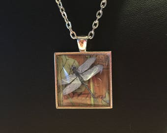Dragonfly, Dragonfly pendant, dragonfly necklace, jewelry, handmade, gift, silver finish, cabochon