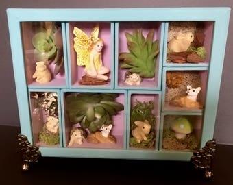 Fairy Garden Shadowbox, Fairy display, succulents, fox, hedgehog, miniatures,  rabbit, mushroom, handmade gifts