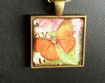 Butterfly, Butterfly pendant, Butterfly necklace, jewelry, handmade, gift, bronze finish, cabochon