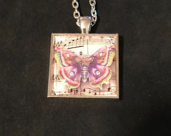 Butterfly, Butterfly pendant, Butterfly necklace, jewelry, handmade, gift, silver finish, cabochon