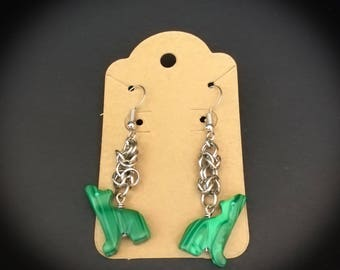 Charming Byzantine Chainmaille Coyote Drop Earrings, chain mail jewelry, animal pendant