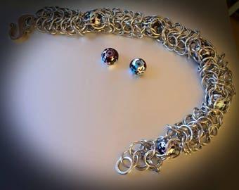 Chain Maille, Stainless Steel, Bracelet, splatter paint, ChainMaille, Chain Mail, ChainMail, Gifts for her, encapsulated bead