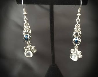 Chain Maille, Stainless Steel, Earrings, Drop Earrings, Paw print, ChainMaille, Chain Mail, ChainMail, Gifts for her, dog, cat, paw