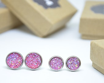 Druzy cabochon earrings / Pink / 8 mm or 10 mm to choose