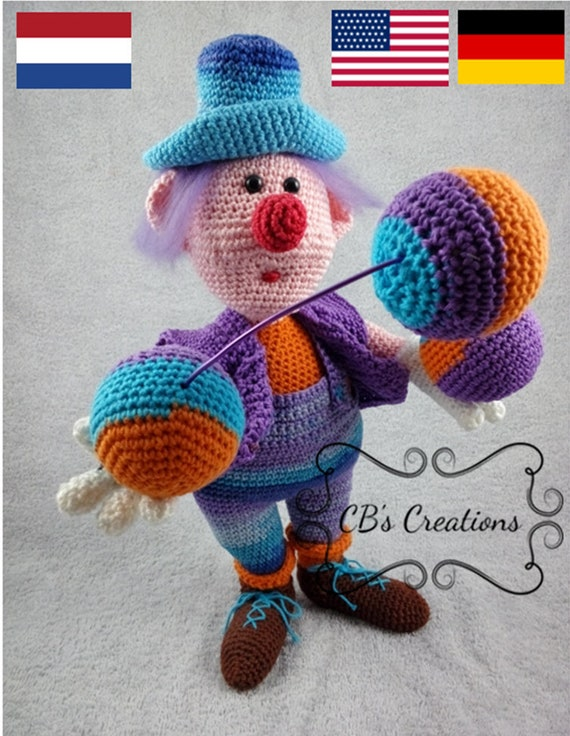 Haakpatroon Grapjas Crochet Pattern Funny Guy Clown Etsy