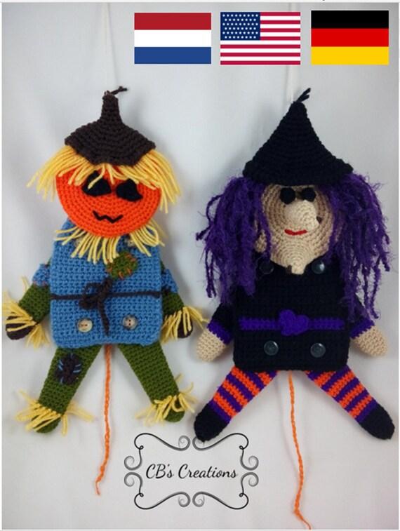Jumping Jack Halloween Crochet Halloween Haken Scarecrow Etsy