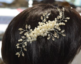 Crystal Hair Comb, Wedding Hair Comb, Bridal Hair Comb,  Pearl Hair Comb, Floral Hair Comb, Bridal Headpiece,Swarovski shine #30801