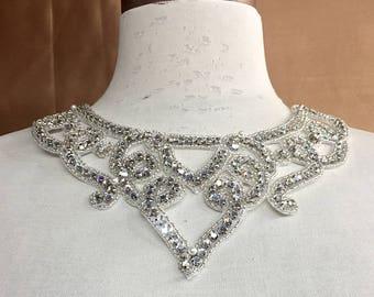 Crystal Applique, Rhinestone Applique, Wedding Applique, Bridal Applique, Applique, Neckline Applique, Swarovski Applique # V-333