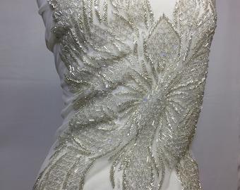 Rhinestone bodice  Fabric,Beaded Elegant ,Glamorous, applique # 6188 Black,silver,