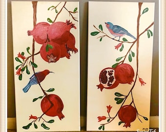 Armenian Pomegranate Birds couple paintings