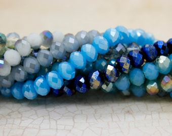 Full Strand Crystal Beads, Faceted Rondelle Chinese Crystal Beads (5mm x 6mm)