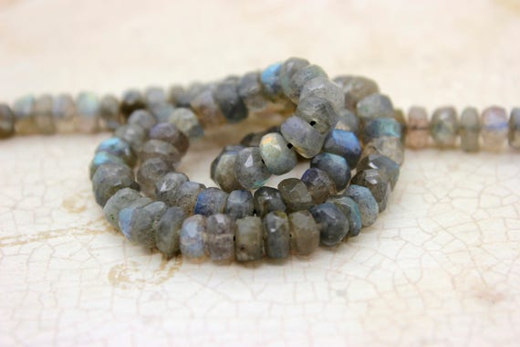 """8X5MM LABRADORITE GEMSTONE GRADE A  FACETED RONDELLE 8X5MM LOOSE BEADS 15.5/"""""""