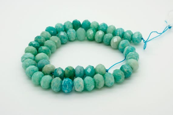 Natural Amazonite Faceted Rondelle 4mm x 6mm Loose Gemstone Beads Stone Rock
