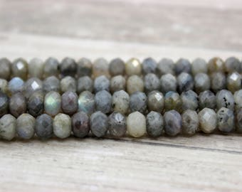 Ruby Labradorite Faceted Rondelle Beads Natural Gemstone (4mm x 6mm)