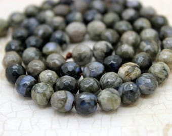 African Que Sera Faceted Round Beads Natural Gemstone (4mm 6mm 8mm 10mm 12mm)