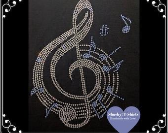 691cea1ed3f Music Notes Treble Clef Rhinestone Women T-Shirt Bling Treble Clef Shirt Sparkle  Music Lovers Shirt Crystal Music Tee Music Teacher Gift
