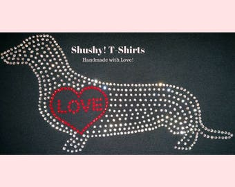 Dachshund Love Heart Rhinestone Women T-Shirt - Sparkle Wiener Dog Shirt, Bling Dackel Top, Dackel Dog Lovers Gift, XS S M L XL 2XL