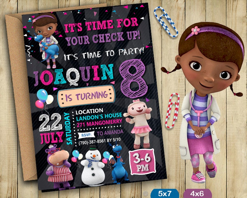 photo about Doc Mcstuffins Printable Invitations titled Document McStuffins Invitation, Document McStuffins Invite, Document McStuffins Birthday, Document McStuffins Get together, Document McStuffins Printable, Do-it-yourself Customize