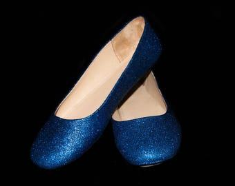 Wedding shoes Azurite Blue  wedding shoes Blue shoes navy flats blue flat shoes bridal shoes blue shoes custom shoes glitter shoes