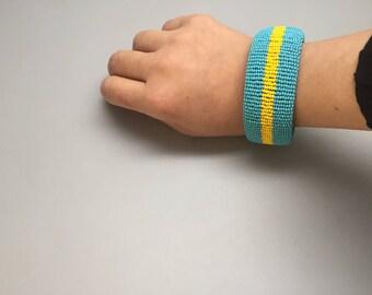 turquoise and yellow handmade beaded bracelet