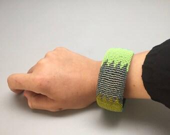 green and turquoise handmade beaded bracelet