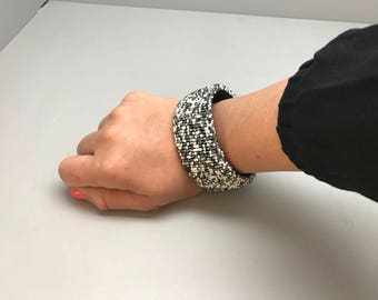 Black white silver and gray handmade beaded bracelet