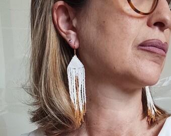 Long fringe earrings native american beaded earrings - white earrings tribal earrings for women - miyuki earrings dangle