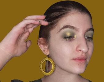 Yellow hoop earrings dangle with beads beaded hoop tribal earrings for women - big circle handmade earrings ethnic earrings - 70s earrings