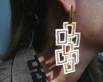 White and gold earrings for women big earrings dangle homemade earrings - beaded earrings long statement miyuki earrings