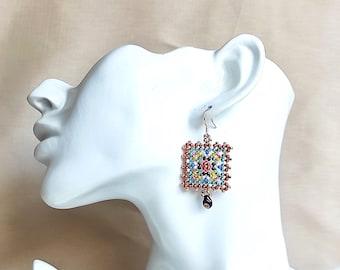 Granny square earrings beaded native american earrings - dangle earrings handmade geometric earrings - homemade earrings for women
