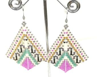 Pink earrings dangle for women geometric earrings - miyuki earrings big earrings boho - statement earrings colorful - bead weaving earrings
