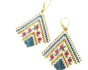 Beadwork earrings - dangly earrings - navy blue earrings