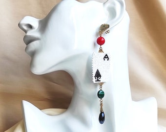One earring long statement single earring  playing cards  - ace of spades mismatched earrings  with light point miyuki earrings