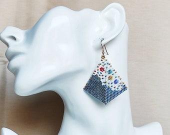 Blue earrings dangle,  beadwork earrings - miyuki earrings boho  homemade earrings - geometric earrings with silver hook - kite jewelry