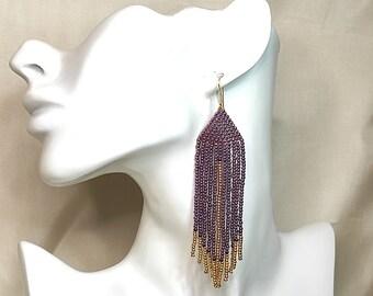 Long fringe beaded earrings - native american  burgundy earrings dangle for women - homemade earrings tribal earrings