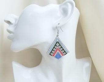 Big earrings for women  dangle peyoted beaded earrings with miyuki delica - colorful earrings lightweight earrings unique homemade earrings
