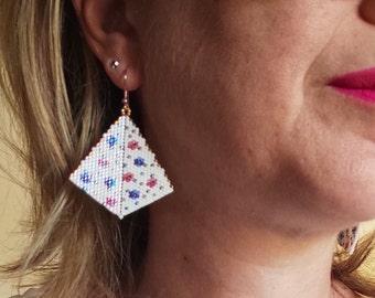 Geometric dangle Miyuki earrings peyoted beaded earrings - beadwork earrings in kite shape homemade earrings - flower earrings