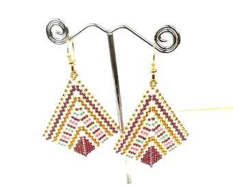 Dangly earrings geometric handmade earrings dangle for women - miyuki earrings - lightweight earrings unique - peyoted beaded earrings