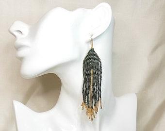 Green earrings boho long fringe earrings native american beaded earrings - tribal earrings for women miyuki earrings dangle