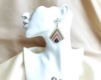 Pink and green earrings miyuki earrings boho and hippie - peyote earrings beaded earrings long statement earrings colorful handmade earrings